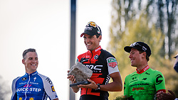 Podium with 1st VAN AVERMAET Greg, 2nd STYBAR Zdenek and 3rd LANGEVELD Sebastian after the 115th Paris-Roubaix (1.UWT) from Compiègne to Roubaix (257 km) at velodrome Roubaix, France, 9 April 2017. Photo by Pim Nijland / PelotonPhotos.com | All photos usage must carry mandatory copyright credit (Peloton Photos | Pim Nijland)