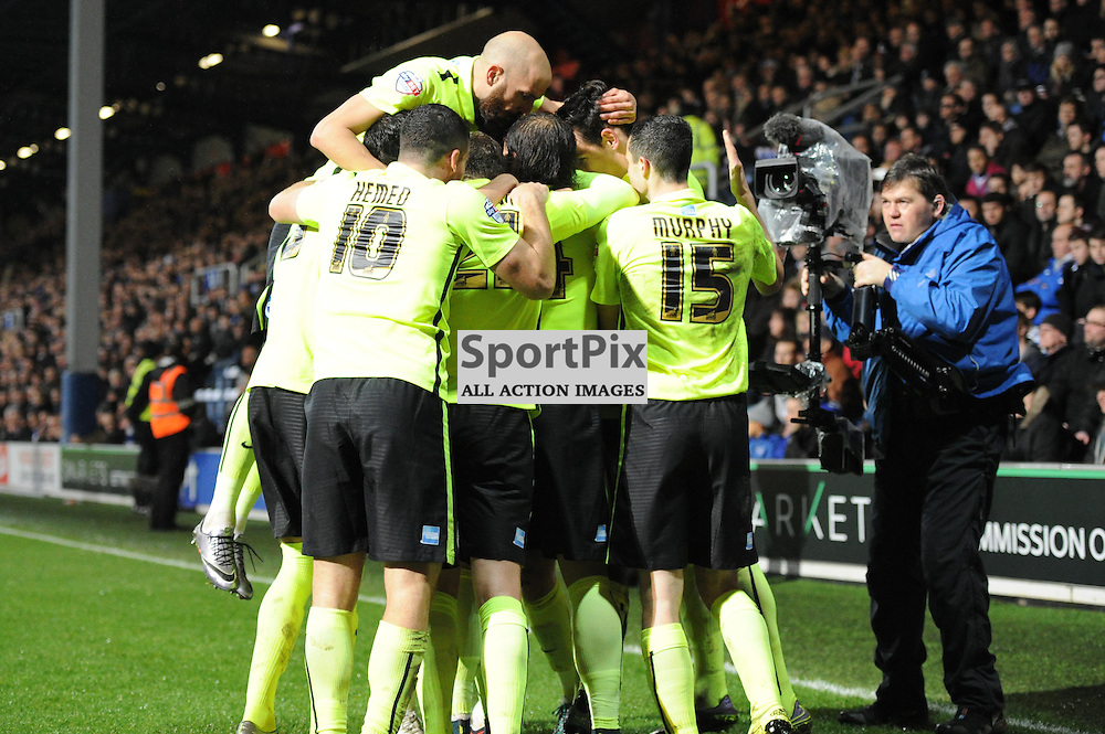 Brightons Dale Stephens scores to put his side 1-0 up during the Queens Park Rangers v Brighton & Hove Albion game in the  Sky Bet Championship on Tuesday 15th Decemeber 2015 at Loftus Road.