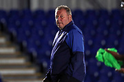 AFC Wimbledon manager Wally Downes walking off the pitch during the EFL Trophy (Leasing.com) match between AFC Wimbledon and U23 Brighton and Hove Albion at the Cherry Red Records Stadium, Kingston, England on 3 September 2019.