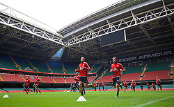 CARDIFF, WALES - Saturday, March 26, 2016: Wales' James Chester and Joe Allen during a training session at the Millennium Stadium ahead of the International Friendly match against Ukraine. (Pic by David Rawcliffe/Propaganda)