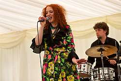 LIVERPOOL, ENGLAND - Friday, June 22, 2018: Brazilian themed Baiana band entertain corporate guests during lunch inside the hospitality tent during day two of the Williams BMW Liverpool International Tennis Tournament 2018 at Aigburth Cricket Club. Laura Doyle. (Pic by Paul Greenwood/Propaganda)