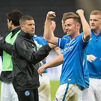 Rosenborg v St Johnstone....18.07.13  UEFA Europa League Qualifier.<br /> Steven MacLean celebrtates at full time<br /> Picture by Graeme Hart.<br /> Copyright Perthshire Picture Agency<br /> Tel: 01738 623350  Mobile: 07990 594431