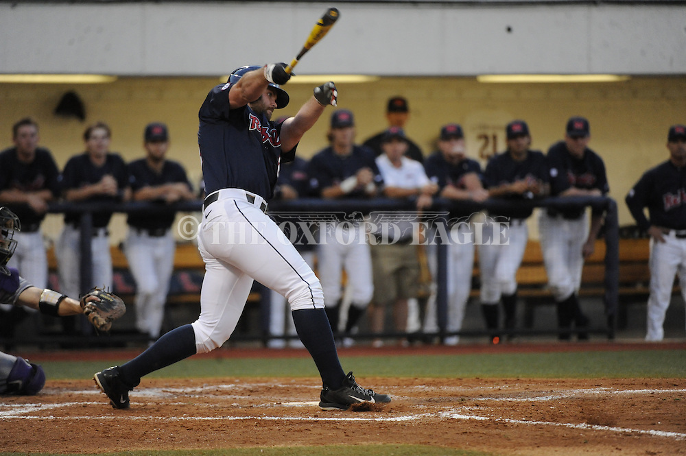 Ole Miss's Sikes Orvis (24) bats vs. Central Arkansas in college baseball action on Tuesday, April 21, 2015.