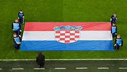 CARDIFF, WALES - Sunday, October 13, 2019: Flag bearers from Mountain Ash Town FC with the Croatia flag before the UEFA Euro 2020 Qualifying Group E match between Wales and Croatia at the Cardiff City Stadium. (Pic by Paul Greenwood/Propaganda)