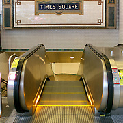 New York City Station subway Times Square sign on tile wall. The NYC Subway is one of the oldest and most extensive public transportation systems in the world, with 468 stations.