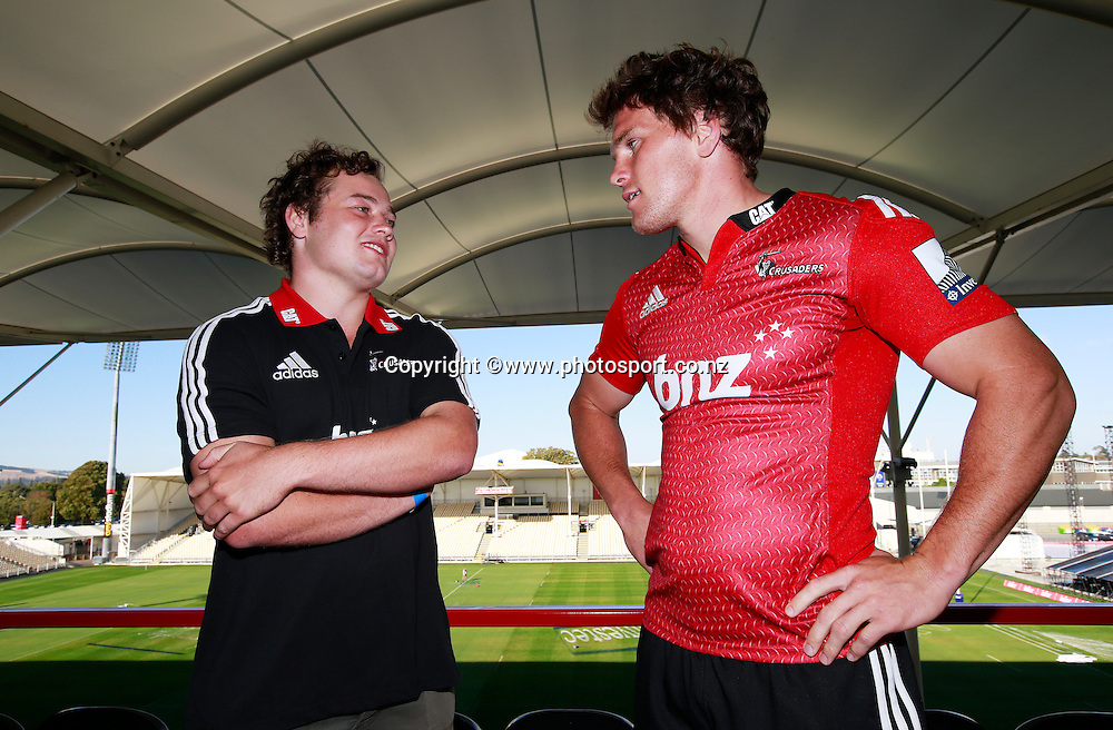 Matt Morrison, 19 years old, winner of the infer scholarship with Matt Todd captain of the Crusaders at a Crusaders back Sponsor announcement of infor and Crusaders captains run training session held at AMI Stadium, Christchurch. 12 February 2015 Photo: Joseph Johnson / www.photosport.co.nz