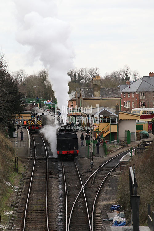 ALRESFORD,UK. 31 March 2013 - Families spend a 'Day out with Thomas' on the Watercress Line during Easter Sunday. The line was originally used to transport fresh watercress to London. Photo by Rob Arnold