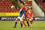 Andy Cannon and George Dobson during the EFL Sky Bet League 1 match between Walsall and Rochdale at the Banks's Stadium, Walsall, England on 6 March 2018. Picture by Daniel Youngs.