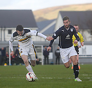 Peter MacDonald goes past Paul McGinn - Dumbarton v Dundee  - SPFL Championship at the Bet Butler Stadium<br /> <br />  - &copy; David Young - www.davidyoungphoto.co.uk - email: davidyoungphoto@gmail.com