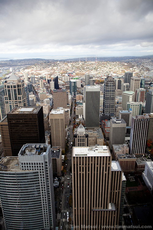 View of Seattle from high above the city in a sky scraper.
