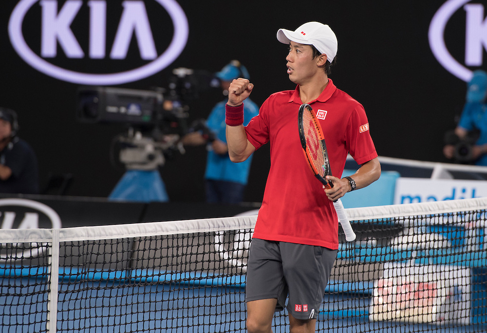 Kei Nishikori of Japan on day seven of the 2017 Australian Open at Melbourne Park on January 22, 2017 in Melbourne, Australia.<br /> (Ben Solomon/Tennis Australia)
