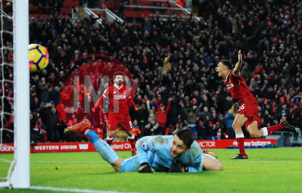Trent Alexander-Arnold of Liverpool celebrates after scoring his sides third goal behind  dejected Lukasz Fabianski  - Mandatory by-line: Matt McNulty/JMP - 26/12/2017 - FOOTBALL - Anfield - Liverpool, England - Liverpool v Swansea City - Premier League