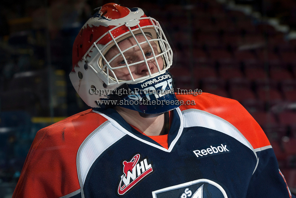KELOWNA, CANADA -FEBRUARY 1: Bolton Pouliot G #30 of the Kamloops Blazers stands on the ice during warm up against the Kelowna Rockets on February 1, 2014 at Prospera Place in Kelowna, British Columbia, Canada.   (Photo by Marissa Baecker/Getty Images)  *** Local Caption *** Bolton Pouliot;
