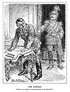 """The Madman. """"What you are signing is the death-warrant of the Third Reich."""" (the ghost of Wilhelm II disapproves of the Organised Massacre of Poland and Czechoslovakia on moral grounds as Hitler signs off the order)"""