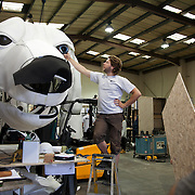 Pete discuss the eyes with designer Christopher Kelly. Aurora is a giant polar bear puppet, the size of a London double decker bus. The bear is the brain child of Greenpeace UK and it will be the center piece in the Greenpeace campaign Save the Arctic  global day of action in London Sept 15th. Aurora is designed by Christopher Kelly in collaboration with props designer Simon Costin and made by Factory Settings in East London.