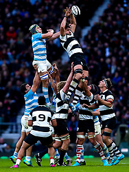 Lood de Jager of Barbarians wins the ball at a line out against Matias Alemanno of Argentina - Mandatory by-line: Robbie Stephenson/JMP - 01/12/2018 - RUGBY - Twickenham Stadium - London, England - Barbarians v Argentina - Killick Cup