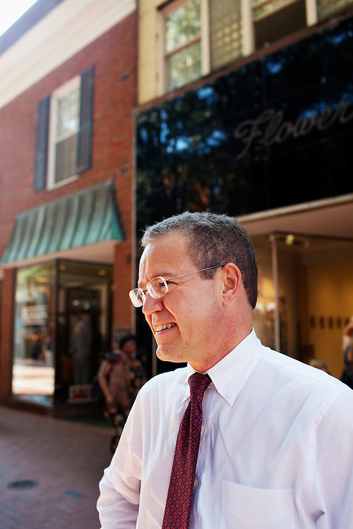Ted Weschler, 50, is Warren Buffet's newest recruit and will join Berkshire Hathaway to manage their investments. He stood for a portrait in Charlottesville, Virginia on Tuesday, September 13, 2011 in front of his office, run from above a bookstore on the quiet downtown mall. ..CREDIT: Matt Eich/LUCEO for The Wall Street Journal.