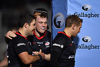 Rugby Union - 2019 / 2020 Gallagher Premiership - Saracens vs. Bristol Bears<br /> <br /> Saracens' Nick Tompkins celebrates scoring his sides third try with Brad Barritt, at Allianz Park.<br /> <br /> COLORSPORT/ASHLEY WESTERN