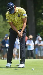 August 10, 2018 - St. Louis, Missouri, U.S. - ST. LOUIS, MO - AUGUST 10: Shugo Imahira putts on the #1 green during the second round of the PGA Championship on August 10, 2018, at Bellerive Country Club, St. Louis, MO.  (Photo by Keith Gillett/Icon Sportswire) (Credit Image: © Keith Gillett/Icon SMI via ZUMA Press)