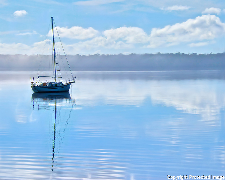 Foggy morning anchorage - St. Johns River, Palatka, Florida