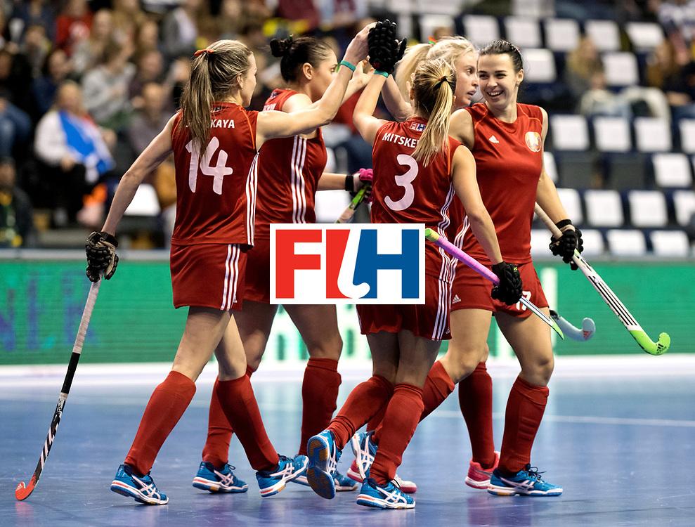 BERLIN - Indoor Hockey World Cup<br /> Quarterfinal 1: Belarus - Australia<br /> foto: Belarus celebrates.<br /> WORLDSPORTPICS COPYRIGHT FRANK UIJLENBROEK