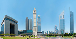 Panoramic skyline of financial district of Dubai United Arab Emirates