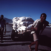 Carts and manpower are still a means of transport. Here a man hauls rice from the port in Port au Prince.