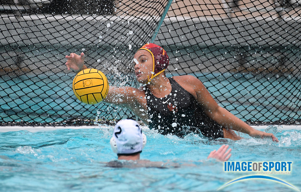 Southern California Trojans goalie Victoria Chamorro (1) defends the goal against the Wagner Seahawks during an NCAA college women's water polo quarterfinal game in Los Angeles, Friday, May 11, 2018. USC defeated Wagner 12-5.  (Kirby Lee via AP)