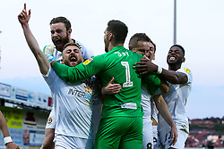 Newport County celebrate after winning through to the Sky Bet League Two Playoff Final - Mandatory by-line: Robbie Stephenson/JMP - 12/05/2019 - FOOTBALL - One Call Stadium - Mansfield, England - Mansfield Town v Newport County - Sky Bet League Two Play-Off Semi-Final 2nd Leg