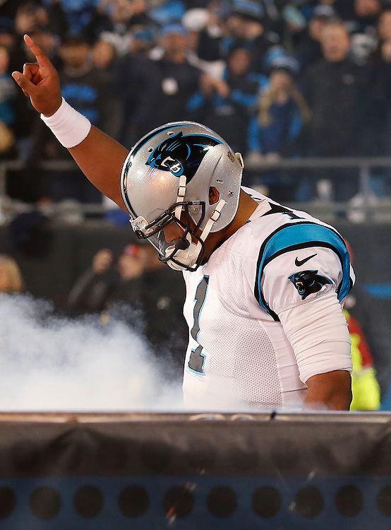 CHARLOTTE, NC - JAN 24:  Quarterback Cam Newton #1 of the Carolina Panthers walks on the field during pre-game introductions before the NFC Championship game against the Arizona Cardinals at Bank of America Stadium on January 24, 2016 in Charlotte, North Carolina.