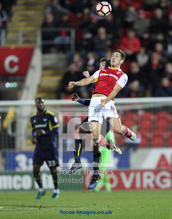 Will Vaulks of Rotherham United leaps high to win a header during the third round of the FA Cup at the New York Stadium, Rotherham<br /> Picture by James Wilson/Focus Images Ltd 07709 548263<br /> 07/01/2017