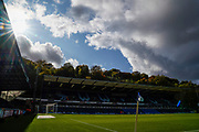 The sun shines down on Adams Park ahead if the EFL Sky Bet League 1 match between Wycombe Wanderers and Sunderland at Adams Park, High Wycombe, England on 19 October 2019.