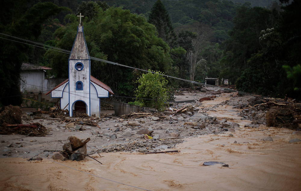 Remaining of a church is seen after a landslide in Teresopolis, Brazil, Thursday, Jan. 13, 2011. <br /> <br /> A series of flash floods and mudslides struck several cities in Rio de Janeiro State, destroying houses, roads and more. More than 900 people are reported to have been killed and over 300 remain missing in this, Brazil&rsquo;s worst-ever natural disaster.