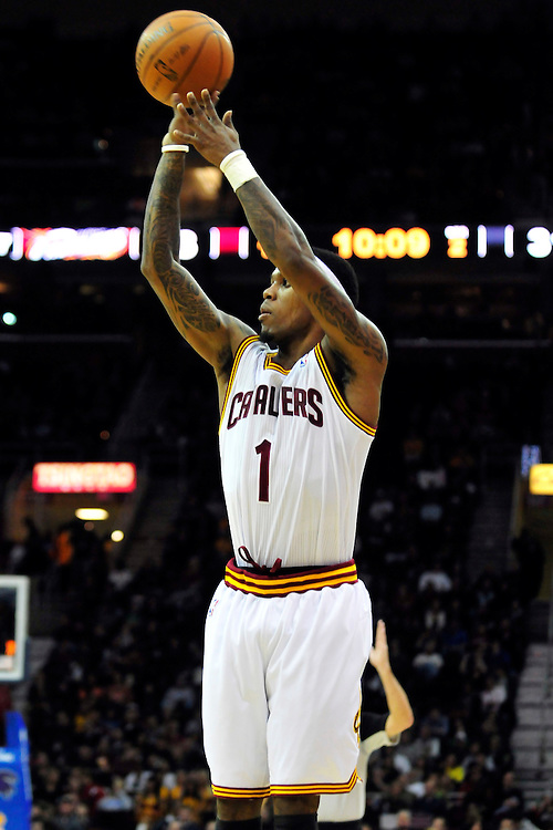 Dec. 18, 2010; Cleveland, OH, USA; Cleveland Cavaliers point guard Daniel Gibson (1) shoots a jump shot during the second quarter against the New York Knicks at Quicken Loans Arena. The Cavaliers beat the Knicks 109-102 in overtime. Mandatory Credit: Jason Miller-US PRESSWIRE