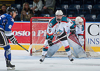KELOWNA, CANADA - SEPTEMBER 3: Konrad Belcourt #5 of Kelowna Rockets stands on the ice in front of the net against the Victoria Royals on September 3, 2016 at Prospera Place in Kelowna, British Columbia, Canada.  (Photo by Marissa Baecker/Shoot the Breeze)  *** Local Caption *** Konrad Belcourt;