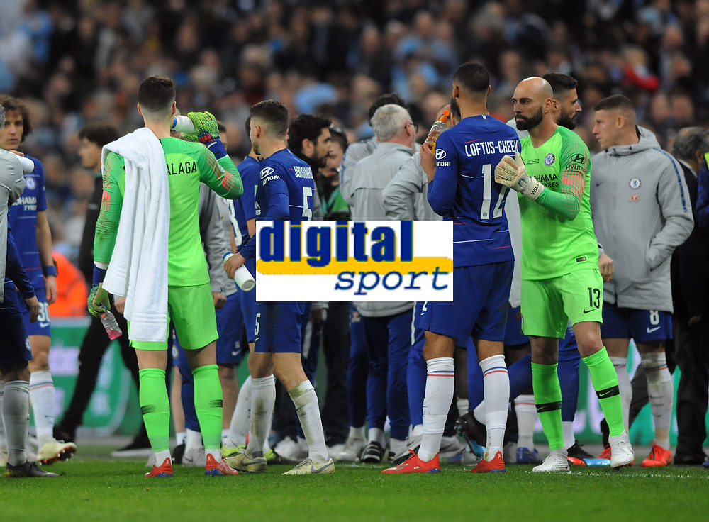 Football - 2019 EFL League Cup Final (Carabao Cup) - Manchester City vs. Chelsea<br /> <br /> Substitute keeper, Willy Caballero keeps apart from, Kepa Arrizabalaga before the penalty shoot out after Kepa refused to come off during the match at Wembley Stadium.<br /> <br /> COLORSPORT/ANDREW COWIE