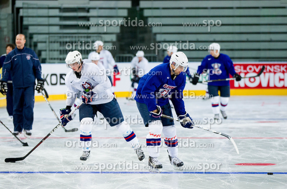 Ziga Jeglic and Ziga Pance during practice session of Slovenian National Ice Hockey team first time in Arena Stozice before 2012 IIHF World Championship DIV I Group A in Slovenia, on April 13, 2012, in Arena Stozice, Ljubljana, Slovenia. (Photo by Vid Ponikvar / Sportida.com)