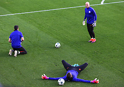Manchester City goalkeepers Claudio Bravo, Willy Caballero and Angus Gunn warm up - Mandatory by-line: Matt McNulty/JMP - 31/10/2016 - FOOTBALL - City Football Academy - Manchester, England - Manchester City v Barcelona - UEFA Champions League - Group C