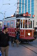 Istanbul. Tramway at Taksim Square at dusk.