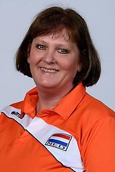 06-05-2014 NED: Selectie Nederlands zitvolleybal team vrouwen, Leersum<br /> In sporthal De Binder te Leersum werd het Nederlands team zitvolleybal seizoen 2014-2015 gepresenteerd / Karin Harmsen