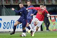 (L-R) Mitchell Dijks of Ajax U23, Noussair Mazraoui of Ajax U23, Mats Seuntjens of AZ Alkmaar U23