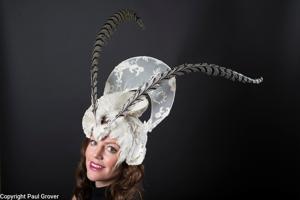 Milliner Natalie Ellner pictured in her studio wearing one of her creations The White Moth a headpiece one 1 of 11 that she is providing to dress each set of guests with spectacular animal masks and headgear at the Animal Ball 2016 on November 22nd, the world's greatest fashion houses will collaborate to dress a bestiary of beautiful creatures from all corners of British society to celebrate and protect nature's greatest masterpieces