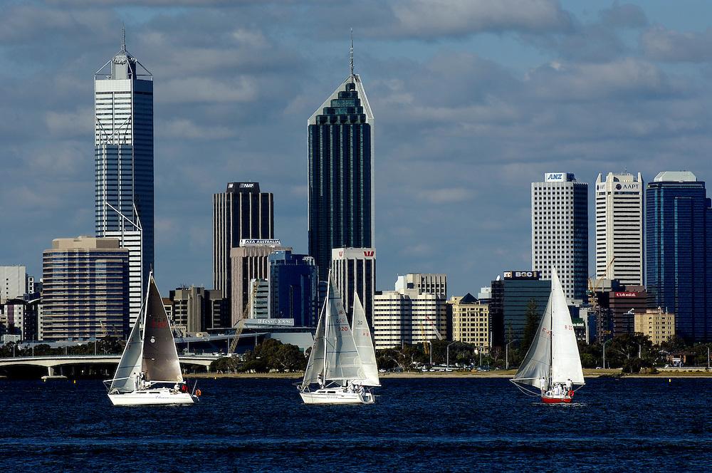 Sailing with Perth Skyline in back. Perth Western Australia
