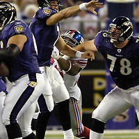 11 August 2006:  The Baltimore Ravens Kyle Boller (7) completes an 8 yard pass in the second quarter against the New York Giants in a pre-season game won by the Giants 17-16 at M&T Bank Stadium in Baltimore, Md. .
