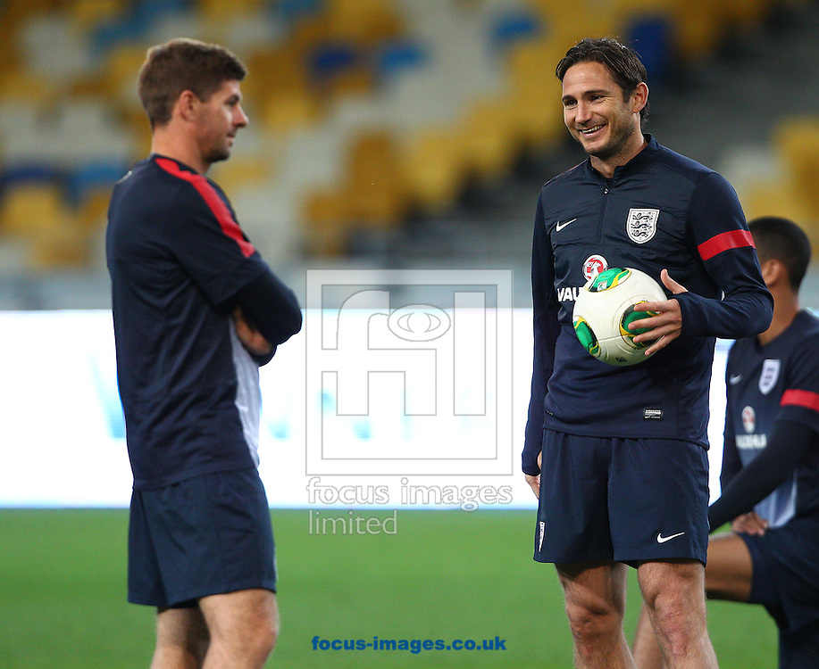 Picture by Paul Terry/Focus Images Ltd +44 7545 642257<br /> 09/09/2013<br /> Frank Lampard ( R ) and Steven Gerrard of England pictured during open training at the Olympic Stadium, Kiev.