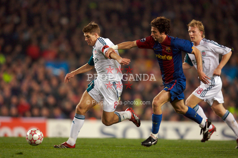 Barcelona, Spain - Wednesday, February 21, 2007: Liverpool's Steven Gerrard and FC Barcelona's Thiago Motta during the UEFA Champions League First Knockout Round 1st Leg match at the Nou Camp. (Pic by David Rawcliffe/Propaganda)