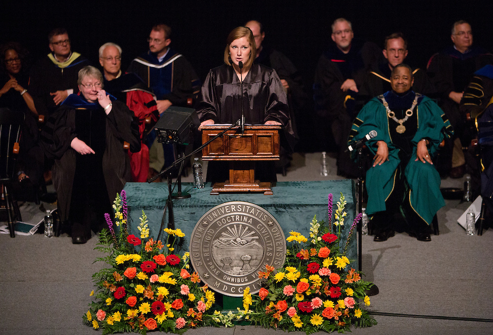 Meg Omecene addresses incoming students during the New Student Convocation at Ohio University on Aug. 24, 2014. Photo by Lauren Pond