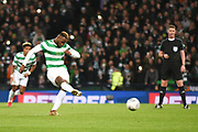 Moussa Dembele scores penalty goal during the Betfred Scottish Cup final between Motherwell and Celtic at Hampden Park, Glasgow, United Kingdom on 26 November 2017. Photo by Kevin Murray.
