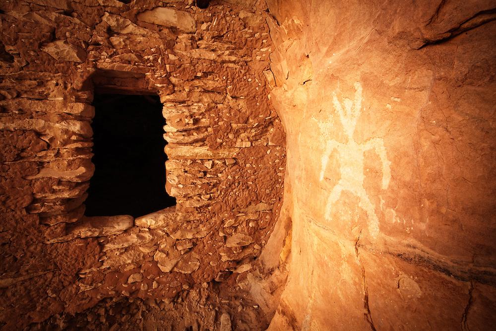 An Anasazi granary and petroglyph. Southern Utah near Blanding.