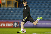 Jordan Pickford warm up practices kicking during the The FA Cup fourth round match between Millwall and Everton at The Den, London, England on 26 January 2019.